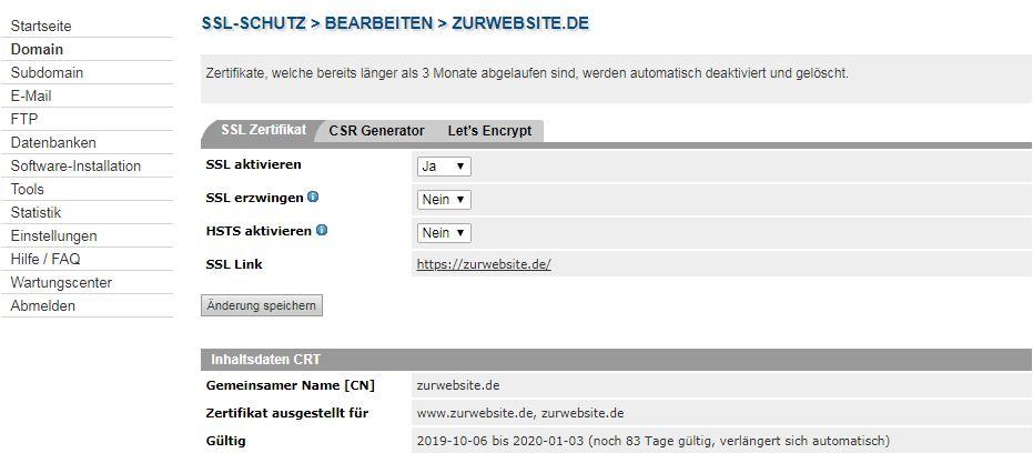 SSL Zertifikat beim Provider