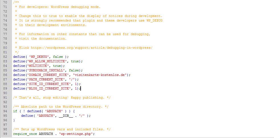 Neue Code-Zeilen in der wp-config-Datei