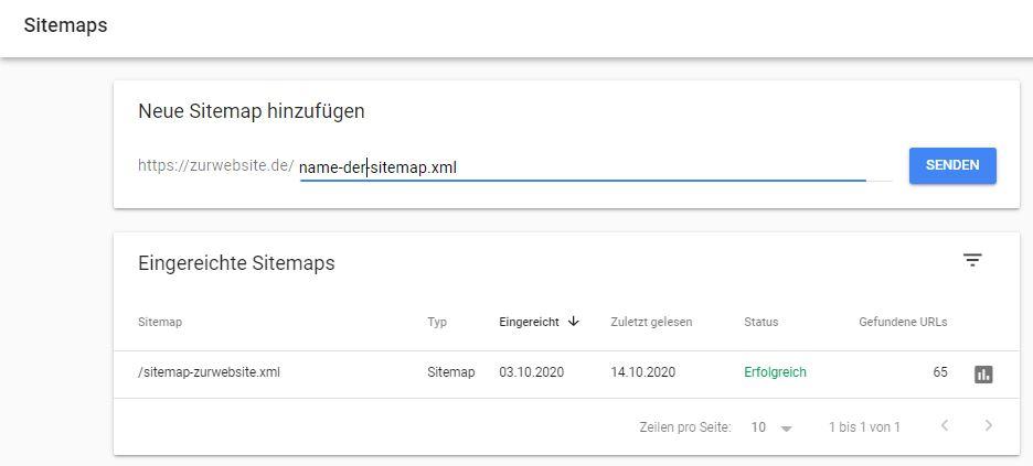 sitemap in der Search Console einreichen
