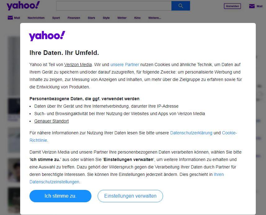 Datenschutzshinweise für User in Yahoo